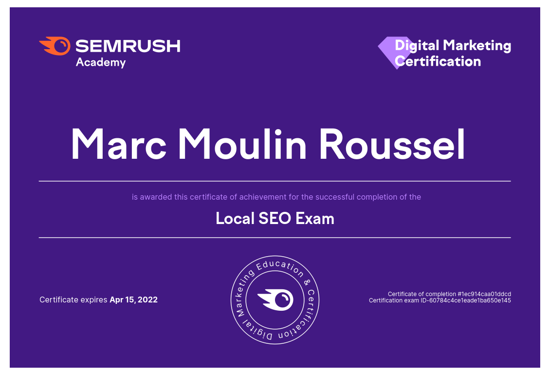 Certification Local SEO