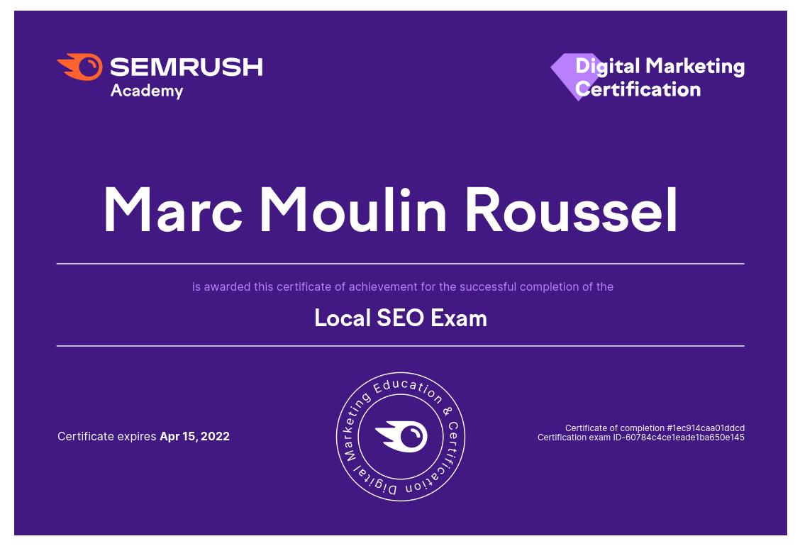 Certification Local SEO